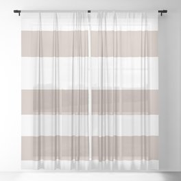 Rosy Mauve Pink, Blushing Bride, Cathedral Morning Hand Drawn Fat Horizontal Stripes on White Sheer Curtain
