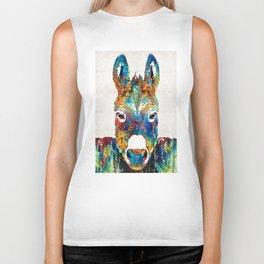 Colorful Donkey Art - Mr. Personality - By Sharon Cummings Biker Tank