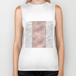 Carrara marble - rose gold stripe Biker Tank