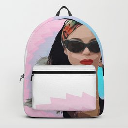 Tattoo Girl with Glasses on Cyan-Magenta Star Backpack