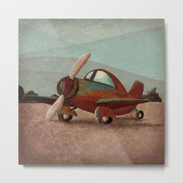 Adventure Air - Little Red Plane Metal Print