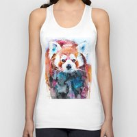 red panda Tank Tops featuring Red panda by Slaveika Aladjova