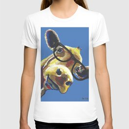 Cute Cow With Glasses, Up close Glasses Cow T-shirt