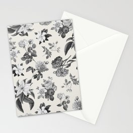 Vintage flowers on cream blackground Stationery Cards