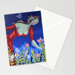Le bouquet; lady in red picking wildflowers floral masterpiece painting by Marc Saint-Saëns Stationery Cards