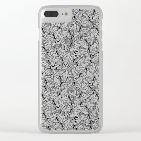 Butterflies Black on White Clear iPhone Case