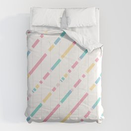 Soft colors diagonally cutted stripes pattern Comforters