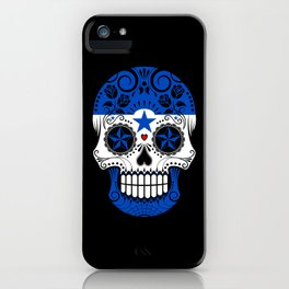 Sugar Skull with Roses and Flag of Honduras iPhone Case