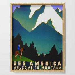 See America Montana - Retro Travel Poster Serving Tray