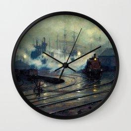 Classical Masterpiece Cardiff Docks by Lionel Walden, circa 1894 Wall Clock