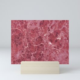 Colorful coral red marble Mini Art Print