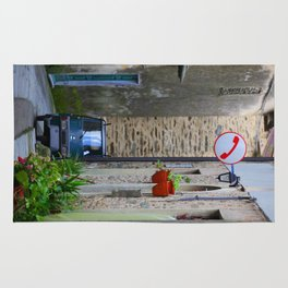 Mountain village in Tuscany with Ape-Car and phone-sign Rug