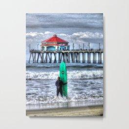 Surfing In Huntington Beach, California Metal Print