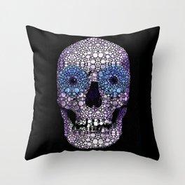 Skull Art - Day Of The Dead 2 Stone Rock'd Throw Pillow