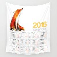 calendar Wall Tapestries featuring 2016 Calendar Wise Fox by James Peart