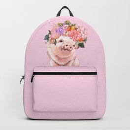 Baby Pig with Flowers Crown Backpack