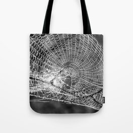 Raindrop Covered Spiderweb Tote Bag