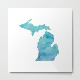 Watercolor Michigan Metal Print