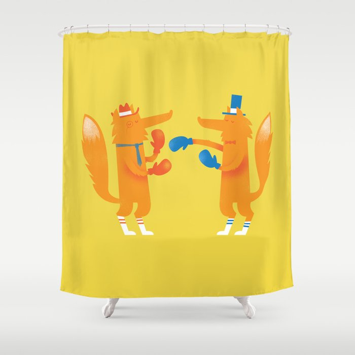 Posh foxes like to box while wearing socks Shower Curtain