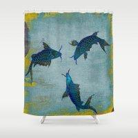 koi Shower Curtains featuring Koi  by Saundra Myles