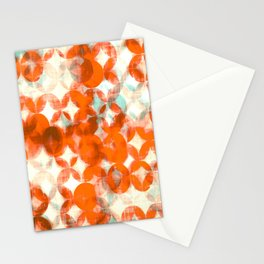 circles, orange art, geometric print, modern painting, mid century art, abstract art Stationery Cards