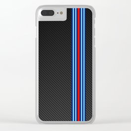 Carbon Racing Stripes Clear iPhone Case