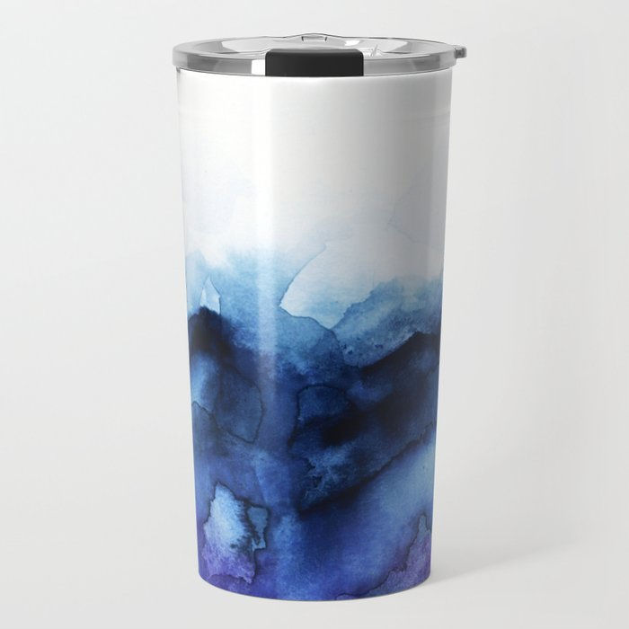 Abstract Indigo Purple Mountians Travel Mug