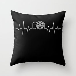 Camera Photograph Heartbeat Gift Throw Pillow