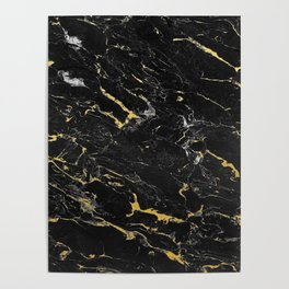 Gold Flecked Black Marble Poster