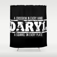 daryl dixon Shower Curtains featuring President Daryl Dixon (WHITE) by AJF89