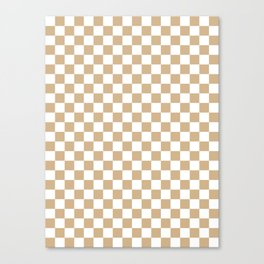 Small Checkered - White and Tan Brown Canvas Print