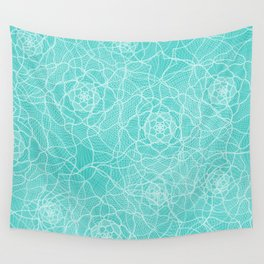 Abstract lace turquoise Wall Tapestry