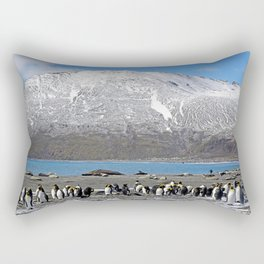 Snowy mountain with King Penguins in the Foreground Rectangular Pillow