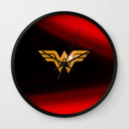WonderWoman emblem insígnia Wonder, Red, Gold, Diana Prince, warrior princess of the Amazons Wall Clock