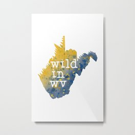 West Virginia Nature State Map Wild In WV Watercolor Art Metal Print