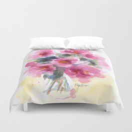 Pink Peony Bouquet Duvet Cover