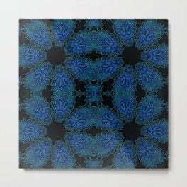 Deep Ocean Blue Teal Floral Design Metal Print