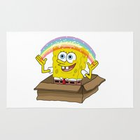 spongebob Area & Throw Rugs featuring spongebob squarepants imagination by aceofspades81