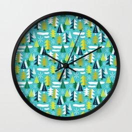 Trees - Xmas Pattern (Blue) Wall Clock