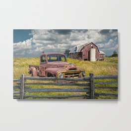 Pickup Truck behind wooden fence in a Rural Landscape Metal Print