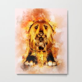 Golden Fountain Lion Metal Print