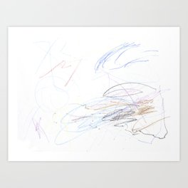Mostly Blue Scribbles Art Print