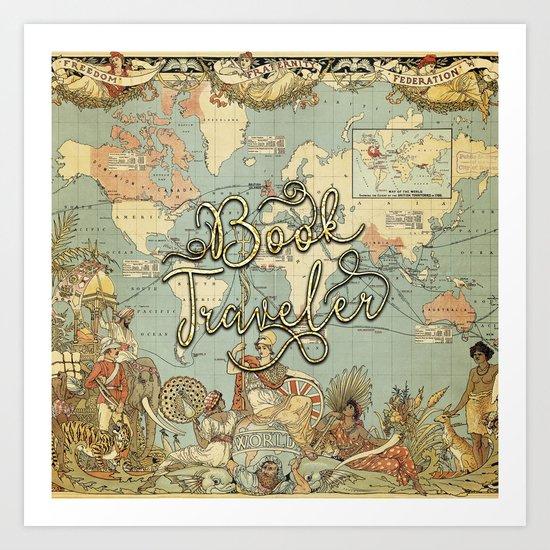 Book Traveler Vintage Map v3 Art Print