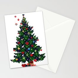 Plaid Christmas Tree Stationery Cards