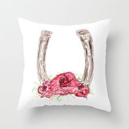 Derby Horseshoe, Roses, Kentucky, Races Throw Pillow