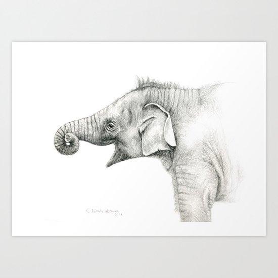 Baby Elephant G005 Art Print