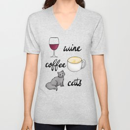 Wine Coffee Cats Unisex V-Neck