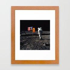 Super Mario on the Moon Framed Art Print