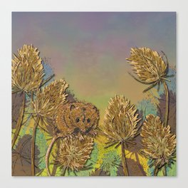 Harvest Mouse and Teasels Canvas Print