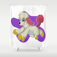 digimon Shower Curtains featuring Labramon by Taurustiger86